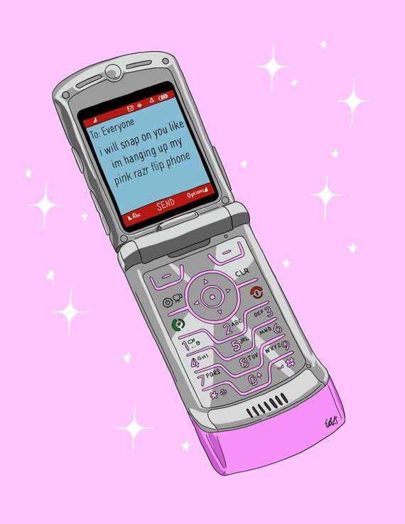Pink Rzr Flip Phone Print Etsy In 2021 Flip Phones Phone Phone Template