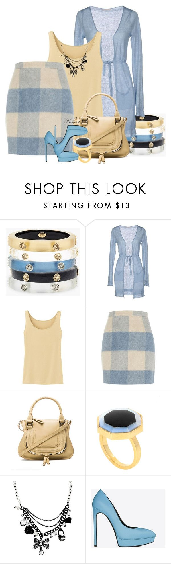 """""""Untitled #1958"""" by gigi-mcmillan ❤ liked on Polyvore featuring Alexis Bittar, Paolo Pecora, Uniqlo, River Island, Chloé, Kelly Wearstler, Betsey Johnson and Yves Saint Laurent"""