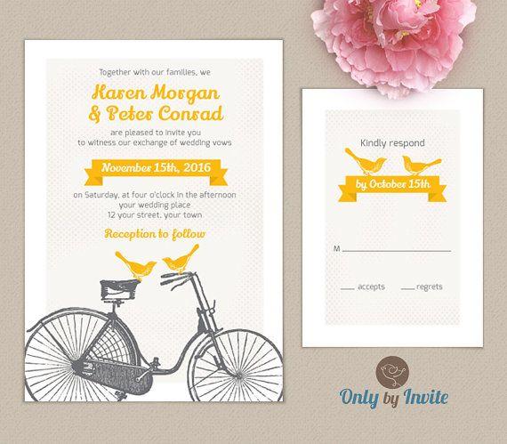 Bicycle wedding invitationprintable DIY | Love birds on bicycle invite | Vintage wedding invitation | Retro wedding invitation