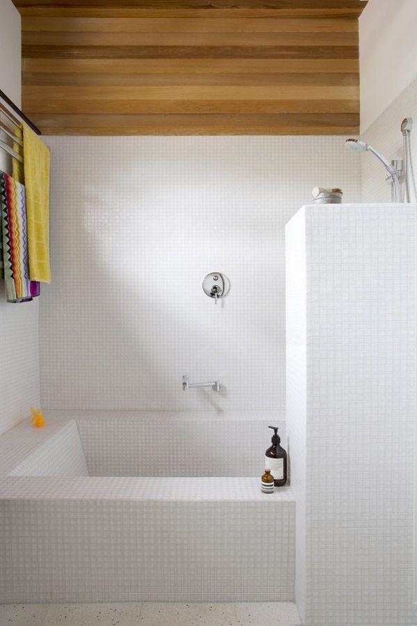 tiles, wood panelling + towels | via the design files