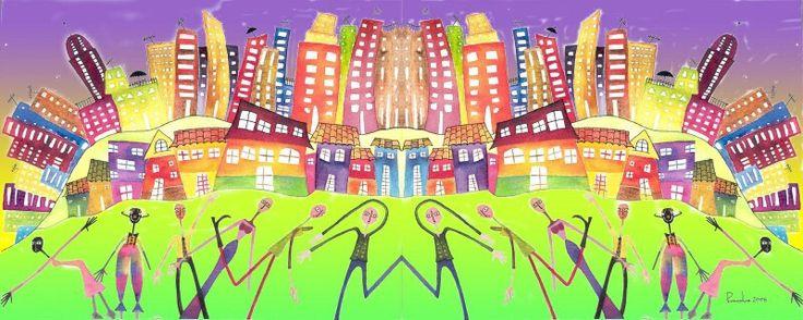 Ilustración inspirada en mi ciudad...Bogotá.