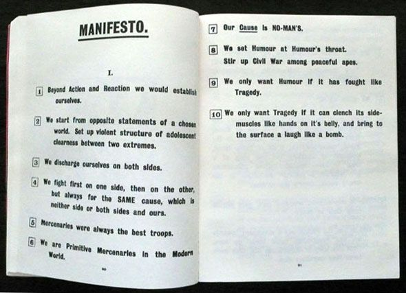 Creator: Vorticists Date: 1914 http://www.paulgormanis.com/wp-content/uploads/2011/02/blast-manifesto.jpg