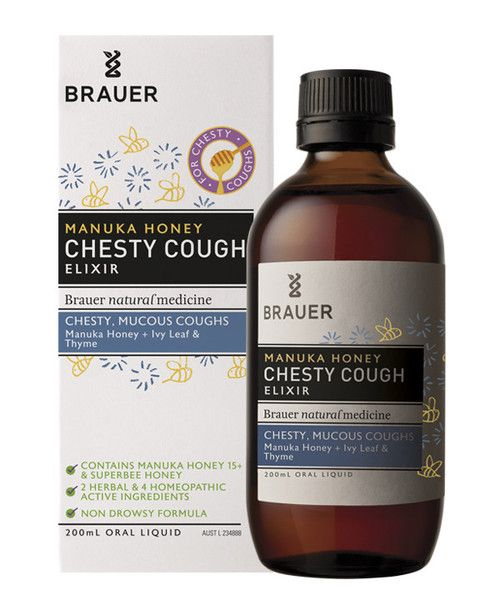 Adult Manuka Honey Chesty Cough Elixir 200mL- Adult Manuka Honey Chesty Cough contains ingredients traditionally used in herbal and homeopathic medicine to temporarily relieve chesty, mucous coughs.