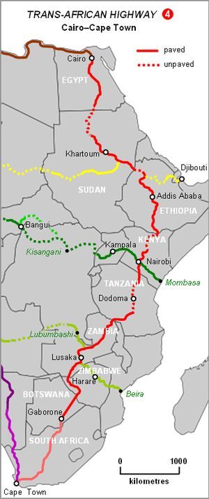 I would love to do the Cairo to Cape Town route- ideally with my Tanzanian extended family!