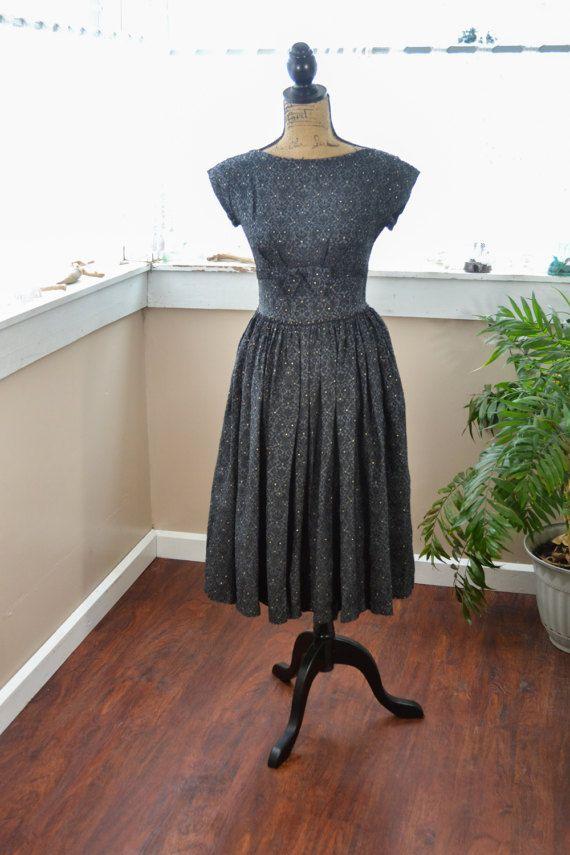Vintage años 50 estilo negro vestido de fiesta S por gilbug1