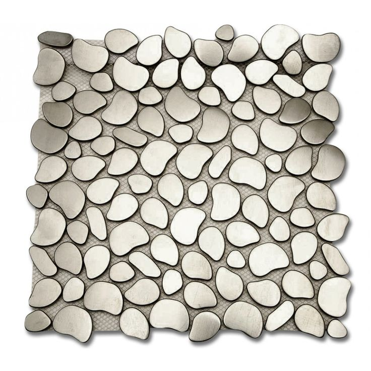 "Shop 11 1/2"" x 11 1/2"" Cobblestone Brushed Matte Metal Tile in Stainless at TileBar.com."