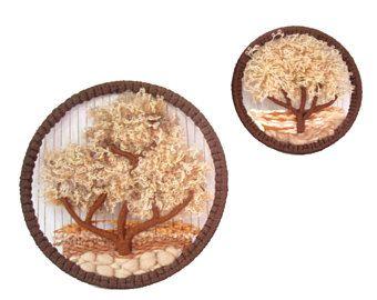 PAR colgar de la pared de tejido de Boho. Arte de textil de fibra de árbol de la vida. Arte de pared de tierra Hippie Macrame tejer tapices de pared redondo Decoración Natural árboles