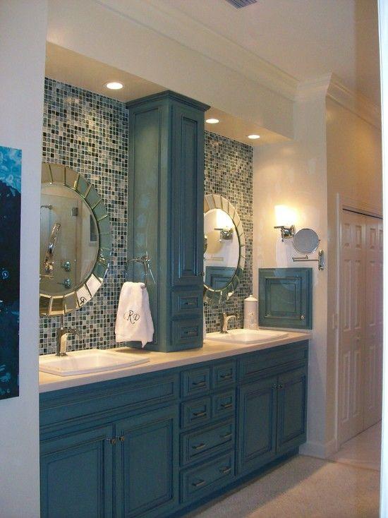 Coastal bathroom. Love the blue cabinetry.