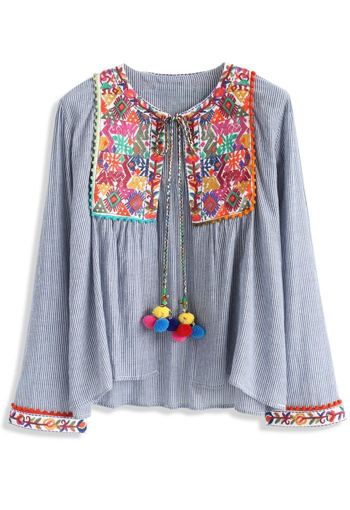 Folksy Color Embroidered Jacket with Pom Pom - New Arrivals - Retro, Indie and Unique Fashion