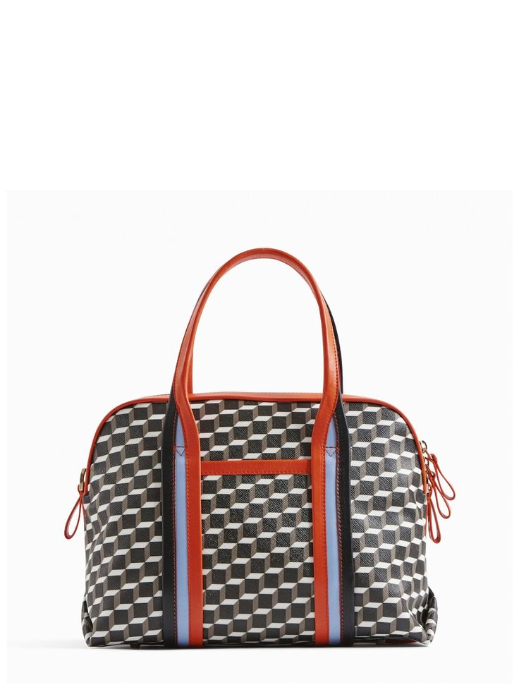 PIERRE HARDY RALLY HANDBAG. #pierrehardy #bags #shoulder bags #leather #canvas #lining #