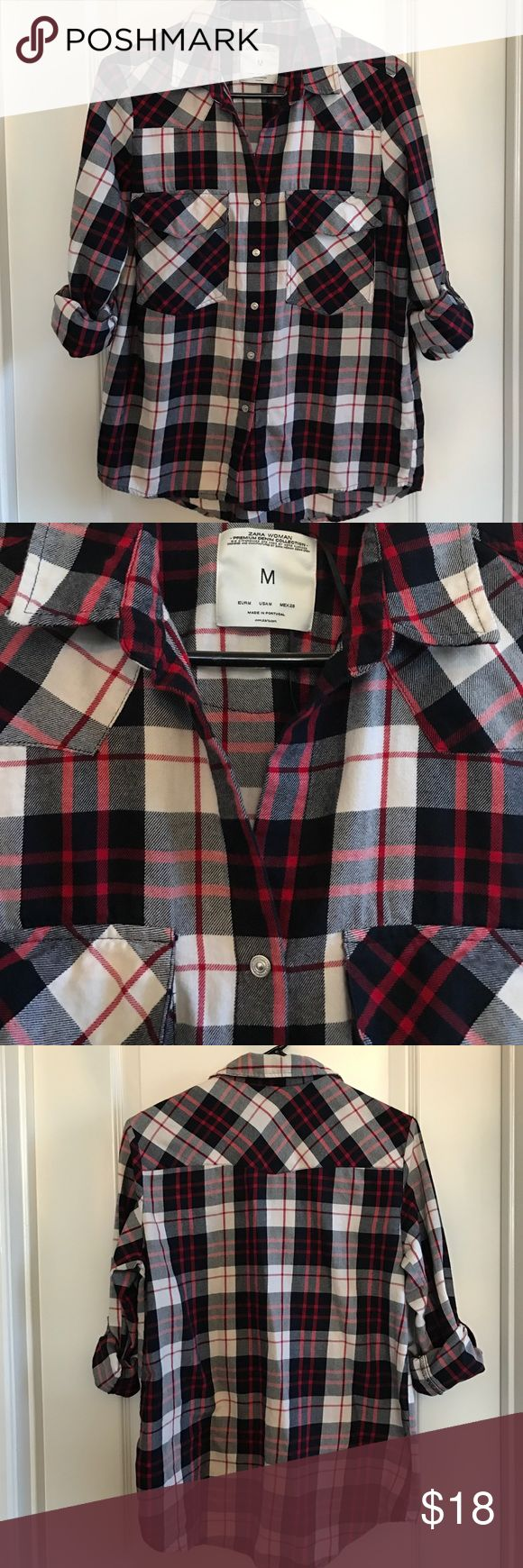 Zara Woman Flannel Shirt Size M Stripped flannel shirt that can pair up with some great jeans or even with a great skirt. Shirt is in great condition Zara Tops Button Down Shirts