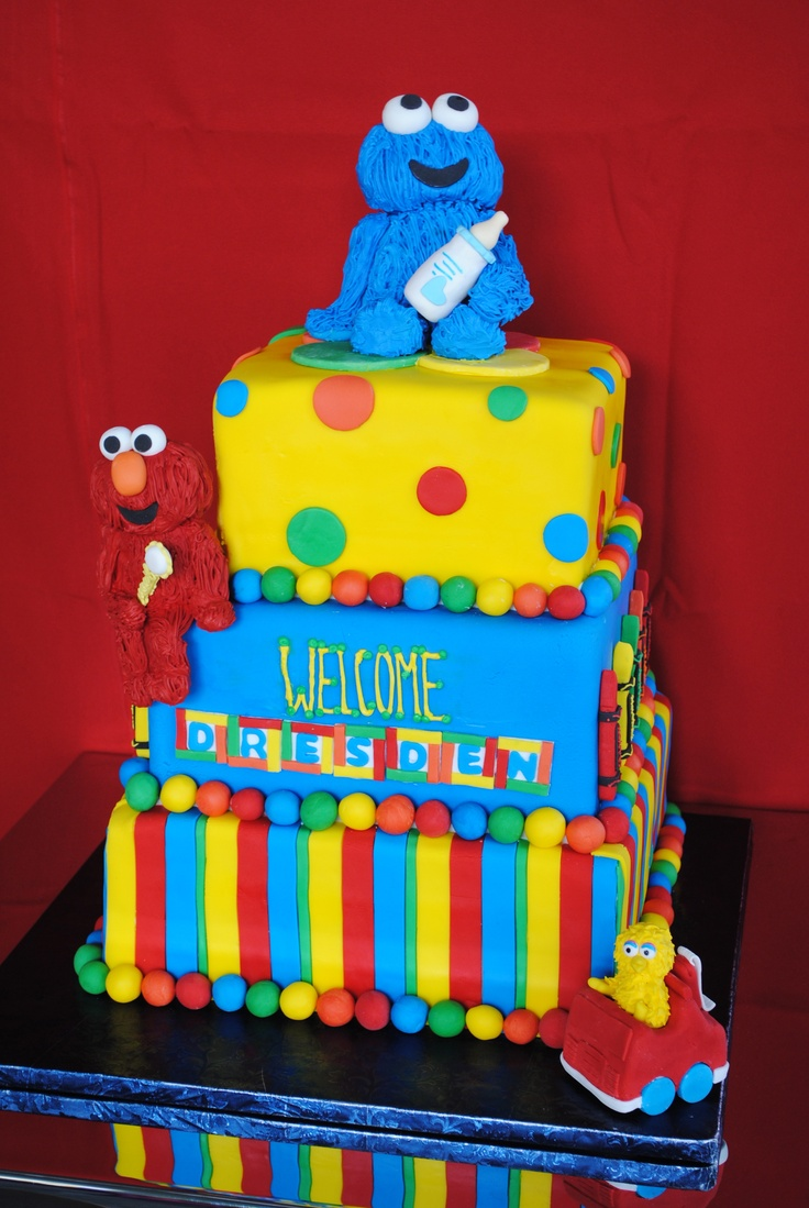How great is this sesame street cake that we made so fun for a baby 39 s birthday or even a baby - Sesame street baby shower ...