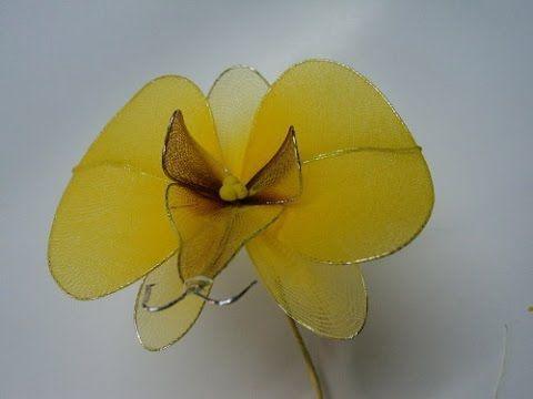 #Tips HD: Hoa lan Hồ điệp vàng bằng vải voan - Orchid nylon flowers - YouTube