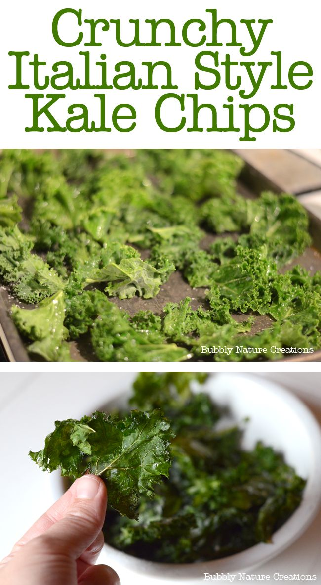 Crunchy Italian Style Kale Chips.  I sprayed with cooking oil spray and used a few shakes of Montreal steak seasoning.  After taking them out I sprinkled with salt and Parmesan.  It was good and i will make again.  My husband even liked the chips!!! 2-18-13