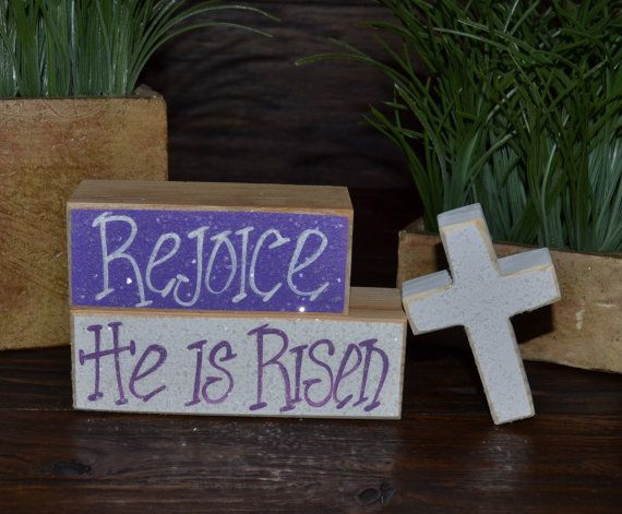 Easter Block Set-Personalized Wood Block Love Set - home decor primitive block gift holiday personalized wood sign Religious Easter Decor on Etsy, $12.99