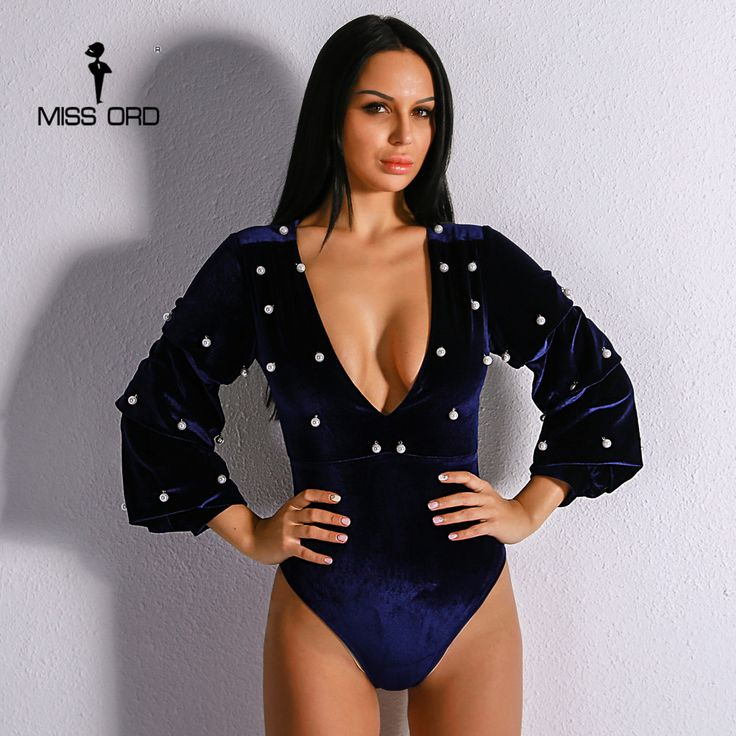 Missord 2017 Sexy Female Beads Long Sleeve Playsuit  Solid Color  Deep V Elegant Velvet Bodysuit FT8916. Yesterday's price: US $29.99 (24.80 EUR). Today's price: US $20.39 (16.86 EUR). Discount: 32%.