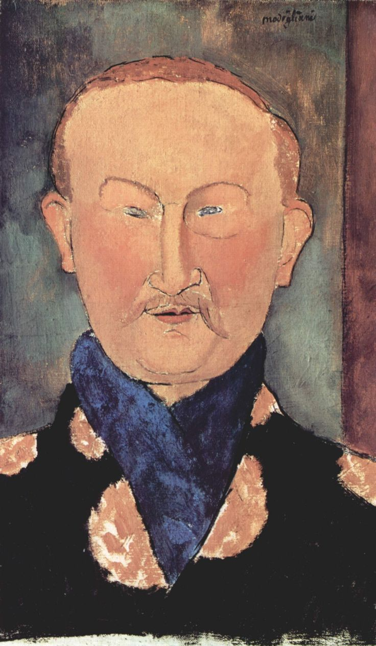 "Leon Bakst by Modigliani. Bakst taught Marc Chagall. Along with Daighelev & Alexandre Benois, he founded the magazine, Mir iskusstva, which embodied the new Russian ""World of Art"" movement (a reaction against Industrialism's anti-aesthetics)."
