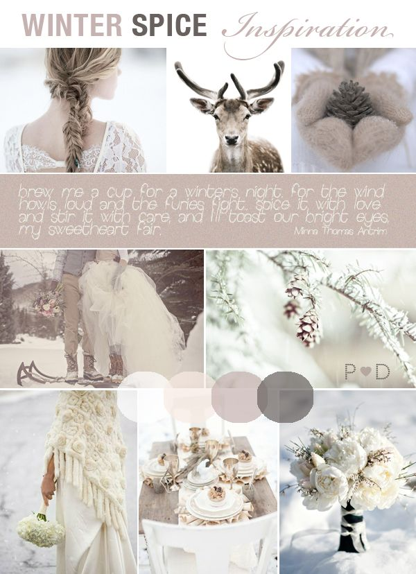 Winter Spice, Published on Love My Dress, Bridal Inspiration Boards, Wedding Mood Boards, Wedding Styling, Wedding Ideas, Winter Wedding, Winter Wedding Dress, Capes, White Wedding, Fawn, Mink, Naturals (1)