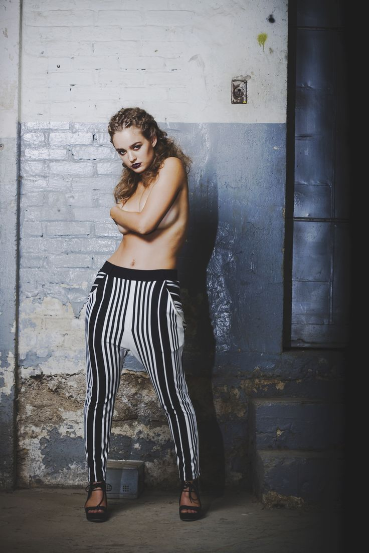 | Laurie Brown | Black and white stripe drop crotch pant.