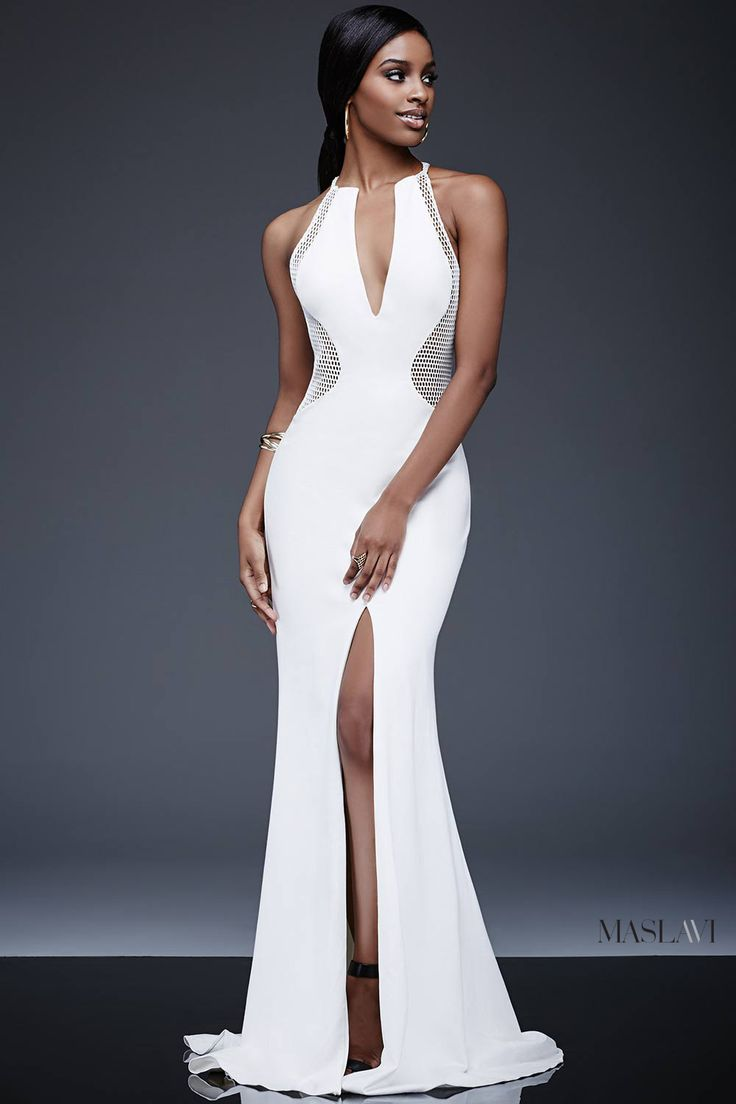 Ivory Long Fitted Contemporary Dress M507 by Maslavi | Long ...