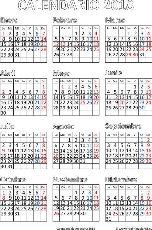 Calendario de Argentina 2018 gratis descargar
