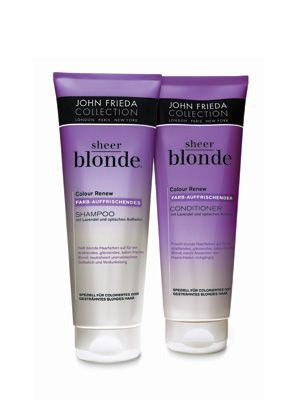 John Frieda Sheer Blonde purple shampoo and conditioner..If you have blonde hair you should use this at LEAST once a week!