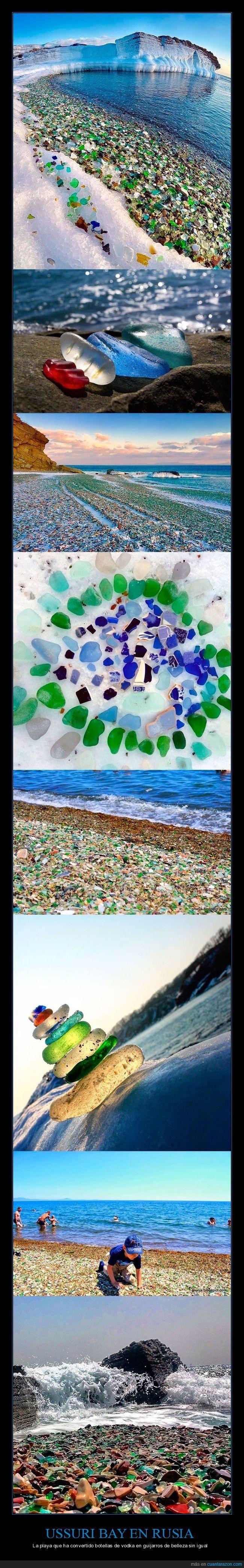 Los rusos tiran al mar las botellas de vodka. El oceano las convierte en bonitas piedras de color - La playa que ha convertido botellas de vodka en guijarros de belleza sin igual