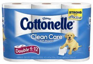Cottonelle Clean Care Toilet Paper Double Roll, 6 Count by Cottonelle. $6.21. Fits current holders. Strong and effective. Packaging may vary from image shown. Cottonelle Clean Care Toilet Paper is uniquely designed with Absorbent Soft Ripples.