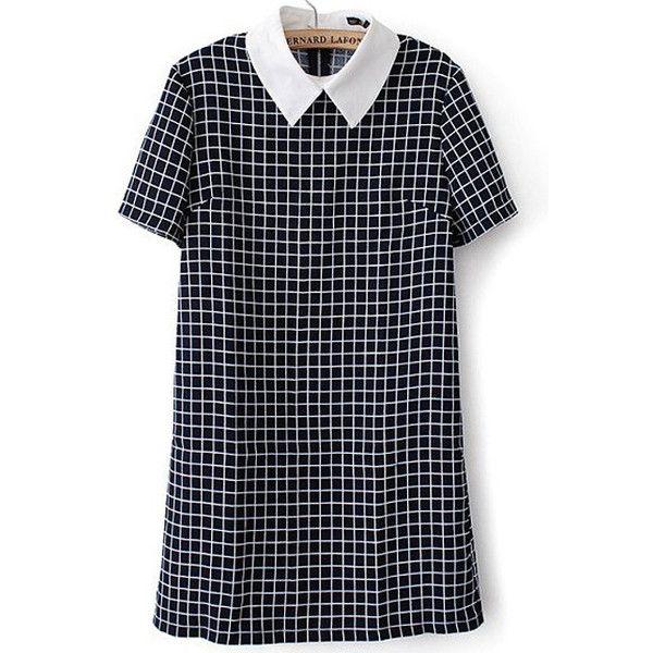 Contrast Collar Plaid Back Zipper Dress ($13) ❤ liked on Polyvore featuring dresses, vestidos, navy, blue short sleeve dress, blue knee length dress, tartan dress, blue plaid dress and navy blue dress