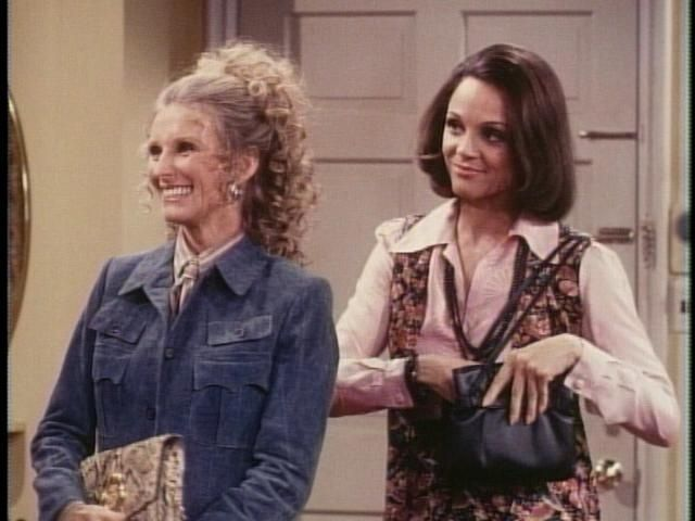 Button downed, tailored, Phyllis, with relaxed, mellow, long & relaxed Boho Chic fashion icon, Rhoda.  Mortal Enemies.