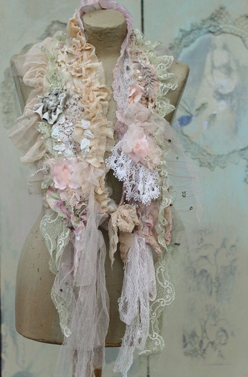 Winter romantic scarflette collar or boa shabby by FleursBoheme