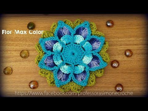 Passo a passo Flor Harmonia em Crochê Parte-1 - YouTube