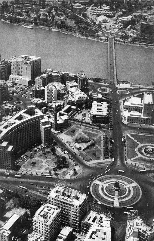 صورة قديم لميدان التحرير من الأعلى. An aerial view of Tahrir Square in the late 1950's.