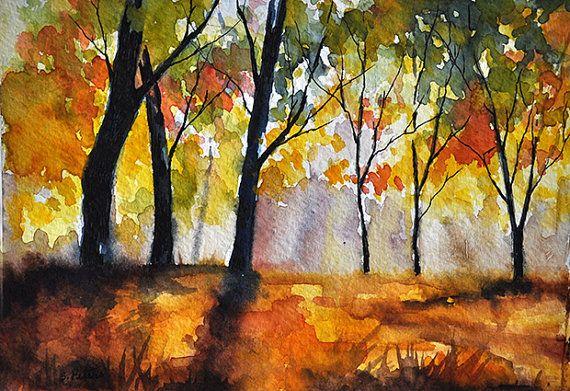 Original Watercolor Painting Autumn Landscape 5 x 7 in by ArtCornerShop