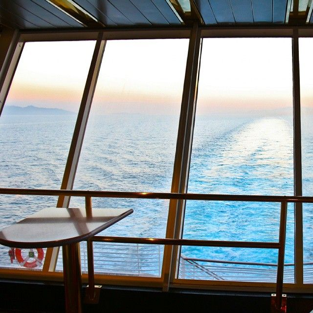 Enjoy your cruise in special designed spaces on board overlooking the bluest and cleanest waters of Aegean! Photo credits: @bsdelos #cruise #travel #design #sunset #onboard #Celestyal #blue #clean #sea