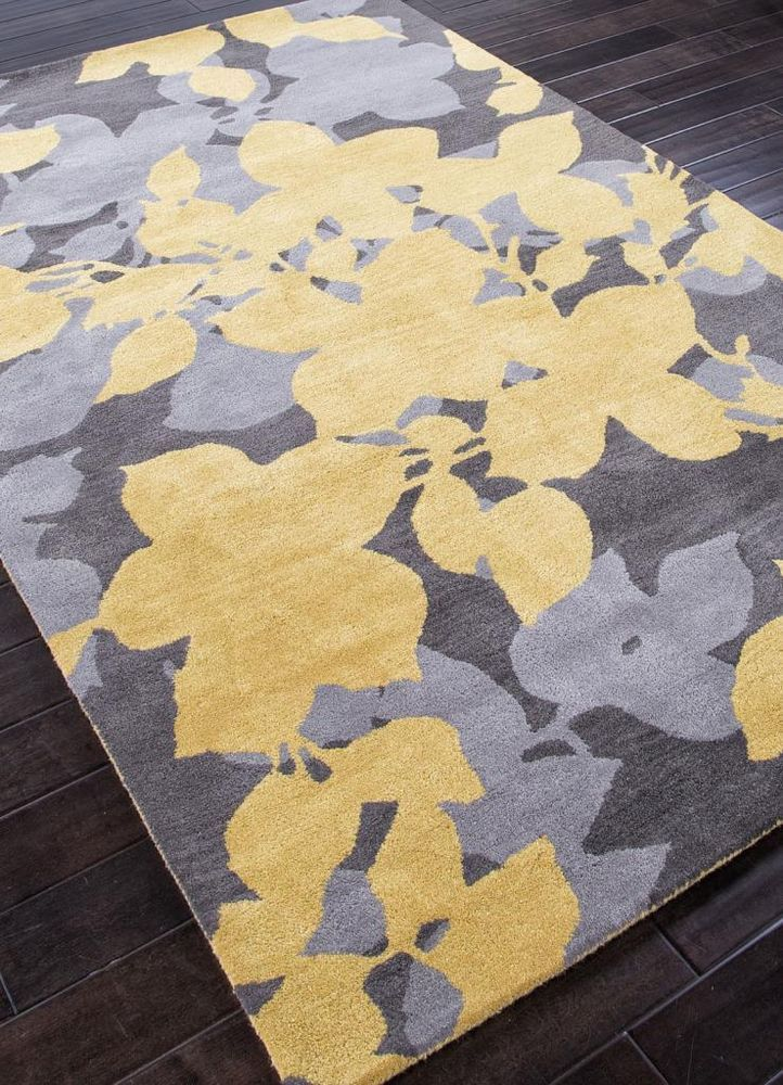 handtufted floral pattern yellow gray 5x8 wool area rug