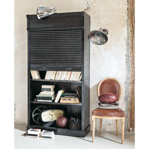 Libreria nera stile industriale in metallo L 100 cm
