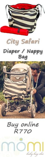 Here's our animal print nappy bag for a chic look!  See how easy it is to hang on your pram/stroller..