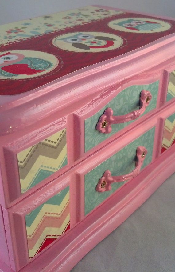 Pink Owls Upcycled Jewelry  Box by JewelryBoxesEtc on Etsy, $33.00