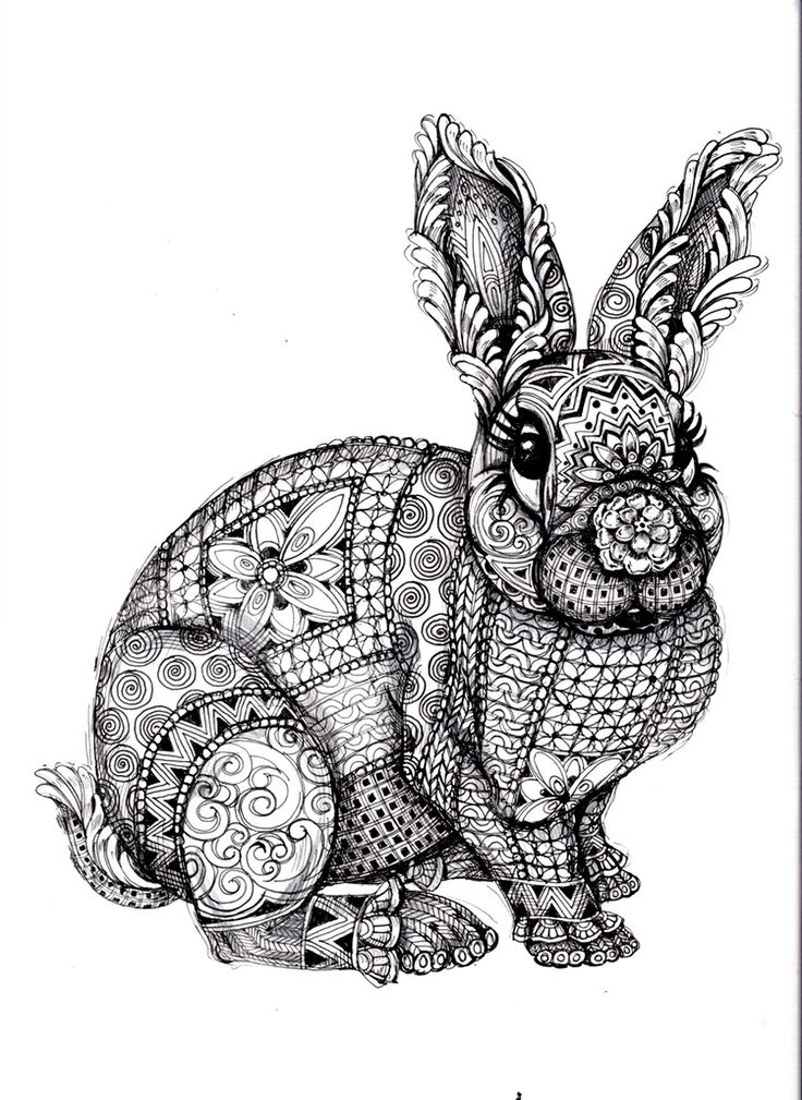 Free coloring page «coloring-adult-difficult-rabbit».