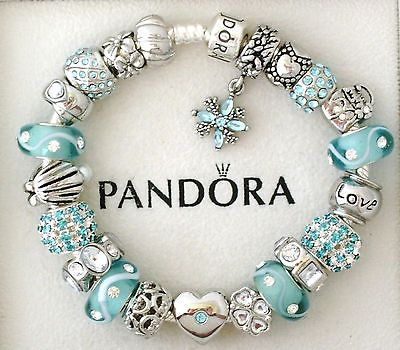 Authentic Pandora Silver Charm Bracelet Blue Aquamarine Heart Love Euro Charms