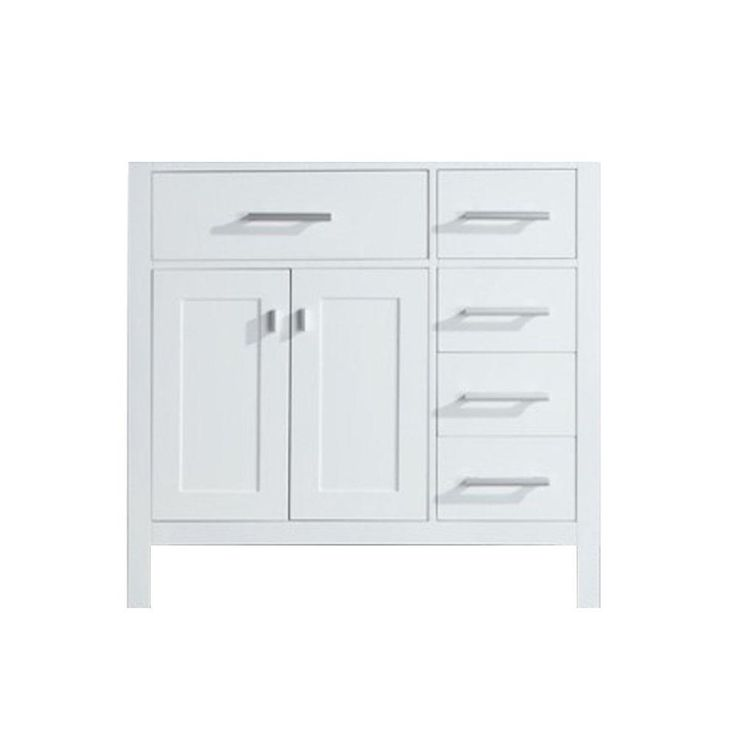 Design Element London 35 5 In W X 21 5 In D X 34 In H Vanity Cabinet Only In White With Right Drawer Dec076dr W Cb The H Bathroom Vanities Without Tops White Vanity