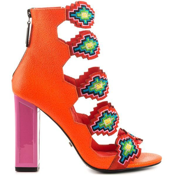 Kat Maconie Women's Thea - Vivid Coral Multi ($290) ❤ liked on Polyvore featuring shoes, sandals, orange, orange high heel sandals, strappy sandals, strap sandals, orange sandals and summer sandals