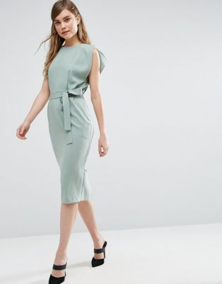 ASOS Belted Midi Dress with Split Cap Sleeve and Pencil Skirt