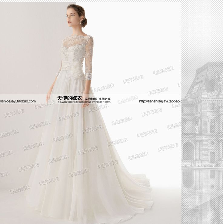 Французский шнурок Тонкий Принцесса невеста слово плечо длинными рукавами свадебное платье 2 015 новый 8899- глобальная станция Taobao
