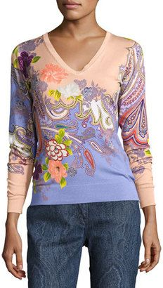 Shop Now - >  https://api.shopstyle.com/action/apiVisitRetailer?id=618557721&pid=2254&pid=uid6996-25233114-59 Etro Stampa Paisley V-Neck Sweater, Peach/Lilac  ...