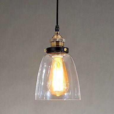 Industrial Edison Simplicity Glass Pendant Lights Metal Base Cap Dining Room / Study Room/Office / Hallway light Fixture 5004532 2017 – $88.14