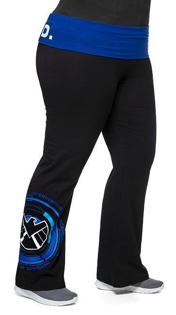 The S.H.I.E.L.D. (Strategic Homeland Intervention Enforcement & Logistics Division) logo is printed on the right leg of these plus size yoga pants. Featuring a blue fold-over waist with the acronym S.H.I.E.L.D. across the back, these black pants have leg