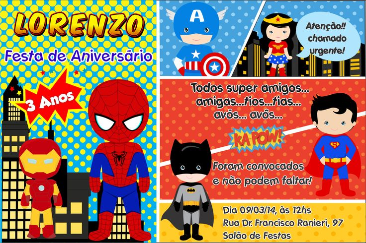 Modelo convite super herois gratis pesquisa google festa infantil