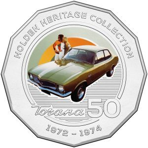 The 1972 LJ Torana coin issued as part pf the Holden Heritage Coin Collection by the Royal Australian Mint.